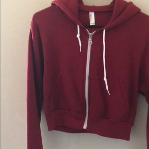 American Apparel red zip up cropped